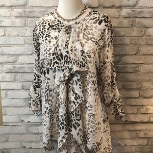 Jennifer Lopez sheer cheetah print long sleeve top